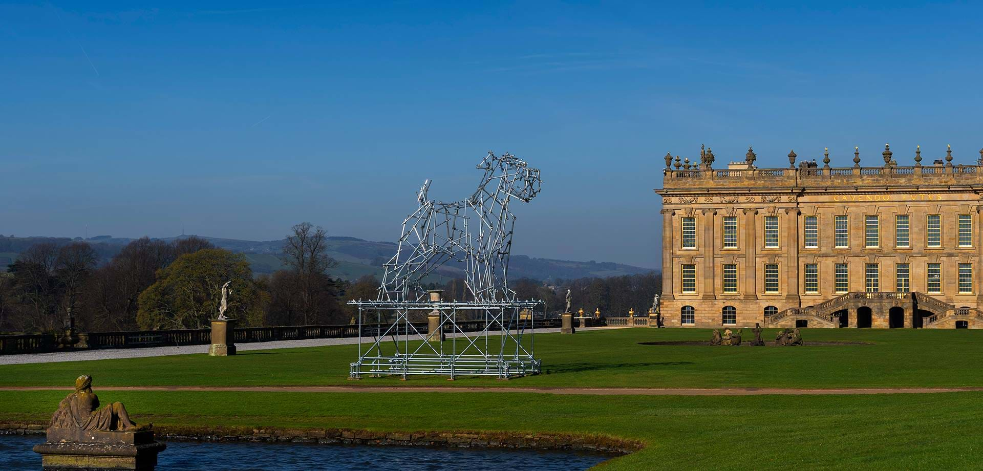 Scaffolding Dog is a Playful Addition  to the Chatsworth Garden for new Exhibition