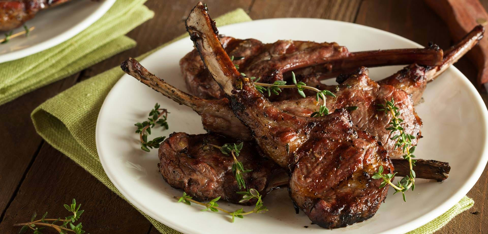 Estate lamb chops with onion and mint puree