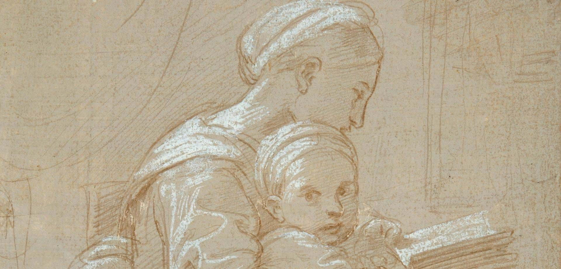 Seated Woman Reading with Child