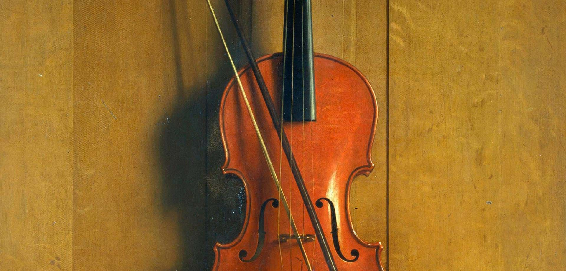 Trompe l'oeil of a violin and bow hanging on a door